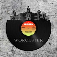 Worcester MA Vinyl Wall Art Record Cityscape Home Room Decoration Bachelor Gift