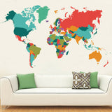60x107cm Colorful World Map Waterproof Wall Sticker Decal Living Room Decor Hot