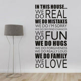In This House Quotes Wall Sticker Family Home Wall Decal Lettering Mural Decor