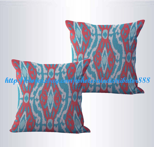 set of 2 decorative throw pillow cases ikat accent cushion cover