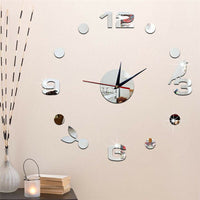 3D Wall Clock Large Mirror Sticker Needle Wall Sticker Living Room Home Decor