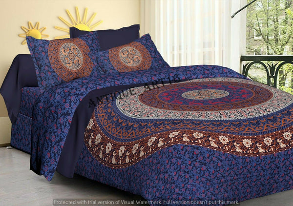 Handmade Indian Peacock Bedspread Blue King Size Bed Sheet 2 Pillow Cases Set