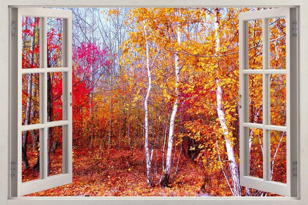 Autumn In Red Birch Forest 3D Window View Decal WALL STICKER Decor Art Mural