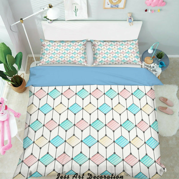 3D Cube Hexagon Blue Pink Quilt Cover Duvet Cover Comforter Cover Pillow Case 02