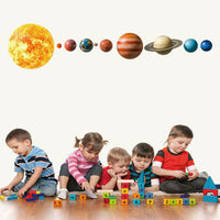 Solar System Planets Wall Stickers for Kids Room Living Room Home Decoration FU