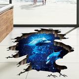 3D Blue Deep Sea Wall Sticker For Living Room Floor Wall DIY Home Decor Decals