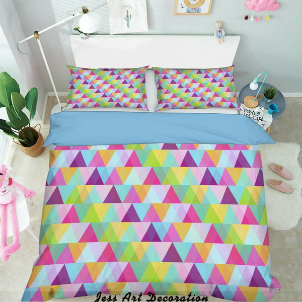 3D Triangle Pink Purple Quilt Cover Duvet Cover Comforter Cover Pillow Case 97