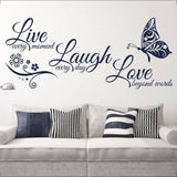 Live Love Quotes Butterfly Wall Stickers Art Room Decal Home Room Decor 2020