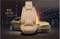 Beige 5-Seats Car Seat Cover Full Front+Rear Cushion Deluxe PU leather W/Pillow