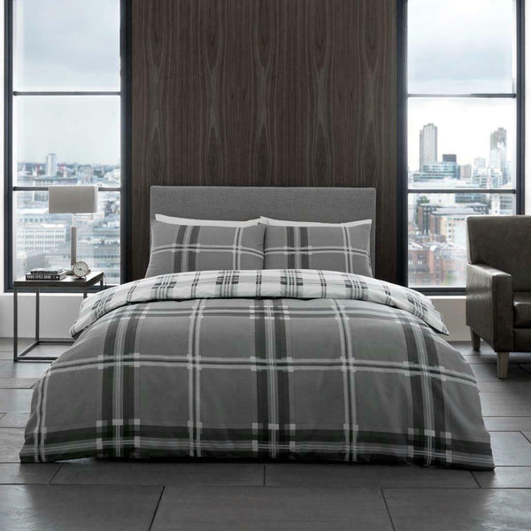 Bardsley Check Duvet Quilt Cover with Pillow Case Bedding Set Grey Red Teal