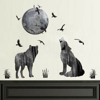 Fulll Moon Wolf Wall Sticker Living Room Home Background Decal Decor