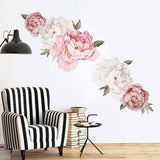 Peony Flower Self-Adhesive Wall Sticker Home Bedroom Living Room Decal Decor HSG