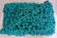 Teal Pompom Fringe Ball Pillow Case Embroidery Sew On Baby Bedding Dangling Trim