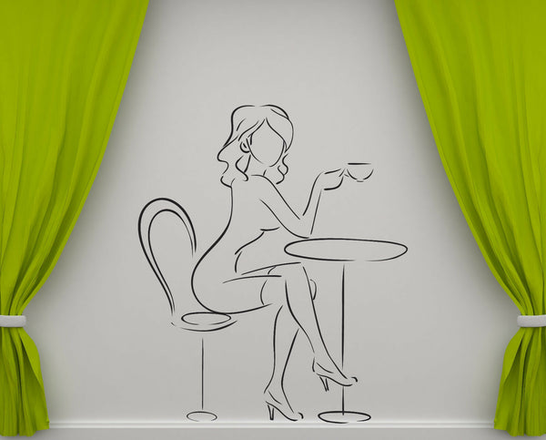 Vinyl Decal Woman Cafe Lunchtime Restaurant Dinner Interior Decor (n974)