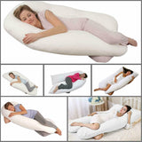 12 FT U Shape Luxurious Long Pillow + Cover For Pregnancy Back Neck Support