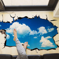 3D Visual Illusion Stickers Sky Clouds Floor Stickers Living Room Decoration