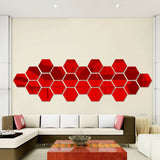 12Pcs Wall Decor Stickers 3D Mirror Hexagon Removable Decal Home Plastic Art DIY