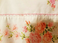 Muslin Pillow Case Pink Floral Vtg Eyelet Crochet Accent JC Penny set of 2 stan