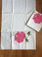 2 Accent Pillow Case Covers ~ Appliqued Pink Roses Flowers