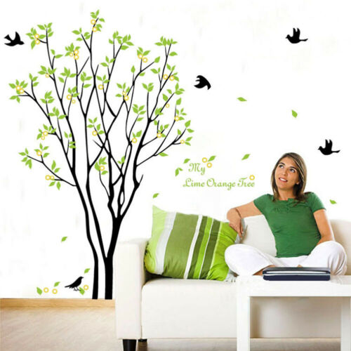 HD_ Lemon Tree Bird Wall Sticker Adhesive Decal Mural Living Room Bedroom Decor