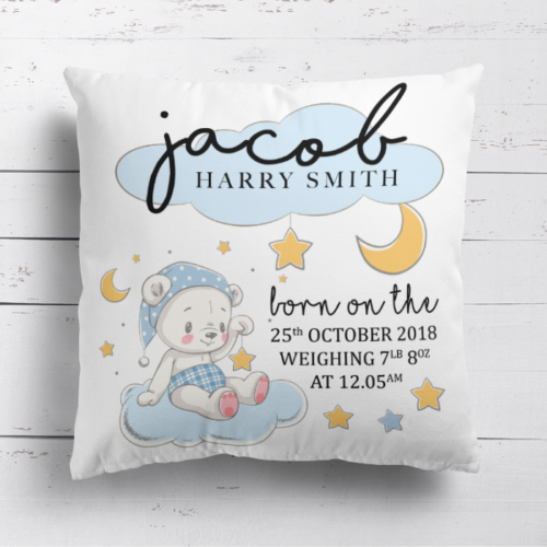 Personalised Baby Boy New Arrival Birth Details Cushion Cover Pillow Case Gift