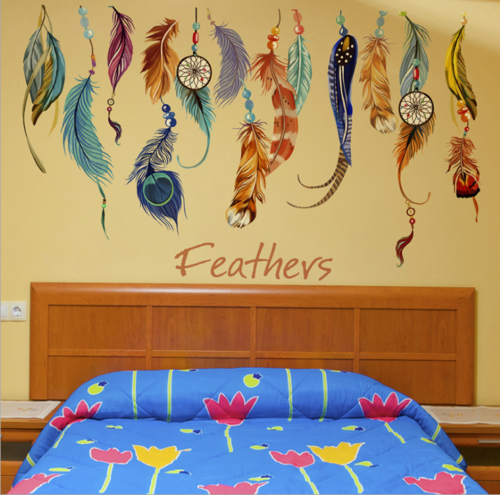 New Feather Wall Sticker Decal Mural Vinyl Home Decor Living Room Bedroom HH5574