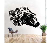 Wall Art Sticker Motorcycle Moto Racer Motor Bike Decals For Living Room Decor