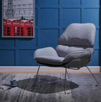 """Finn"" Modern Bucket Style Accent Chair Fabric Upholstered Chrome Legs 3 Colours"