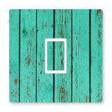 2 x TURQUOISE WOOD - UK LIGHT SWITCH STICKERS, LIVING ROOM BEDROOM NURSERY DECOR