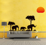 Black Tree Elephants Wall Stickers Living Room Home Decor Home Decals Animals