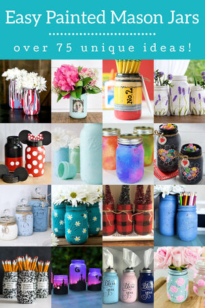 Painting mason jars is easy, fast, and the results are beautiful! Learn several techniques and get over 75 ideas for making them fabulous.