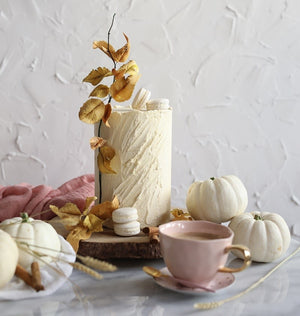 """Pumpkin Spice Latte Cake Recipe By Cupcakes and Counting"" What Autumnal dreams are made of! Everyone knows Autumn is approaching when coffee shops start selling their best versions of the very iconic Pumpkin Spice Latte – and we're jumping on the..."