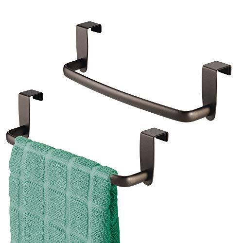 Top rated mdesign kitchen over cabinet metal towel bar hang on inside or outside of doors for hand dish and tea towels 9 75 wide 2 pack bronze finish