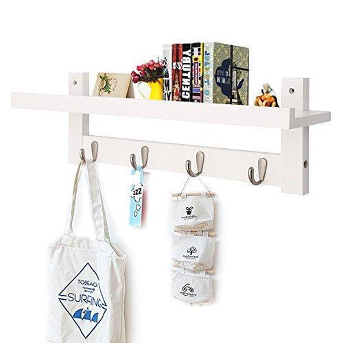 Wooden Hooks for Wall Coat Rack Shelf, Wall-Mounted Bamboo Hook Rack with Upper Shelf for Storage Scandinavian Style for Hallway Bathroom Living Room Bedroom (4 Hooks)