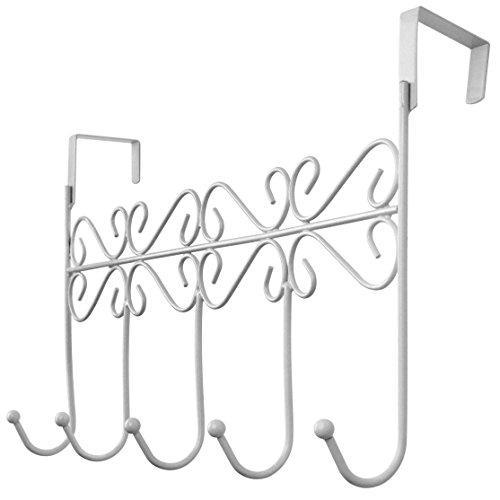 On amazon rbenxia over the door 5 hanger rack decorative metal hanger holder for home office use white