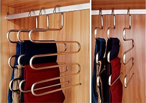 Heavy duty eco life sturdy s type multi purpose stainless steel magic pants hangers closet hangers space saver storage rack for hanging jeans scarf tie family economical storage 1 pce 1