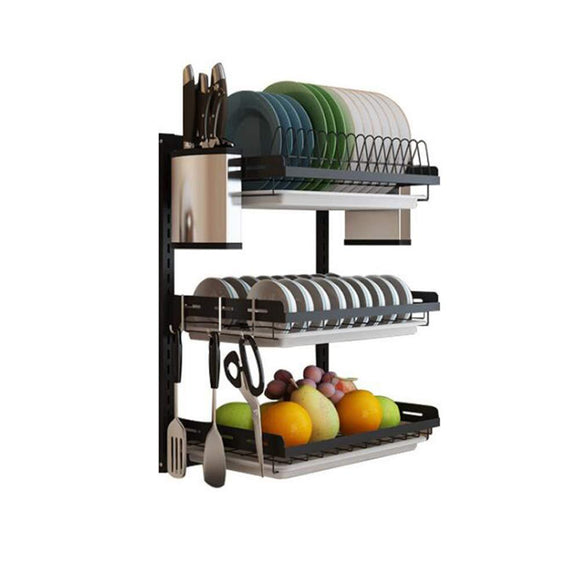Best ctystallove 3 tier black stainless steel dish drying rack fruit vegetable storage basket with drainboard and hanging chopsticks cage knife holder wall mounted kitchen supplies shelf utensils organizer