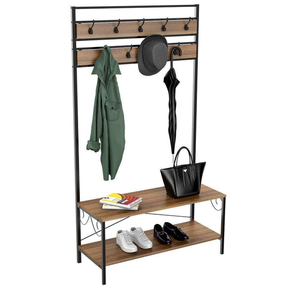 Topeakmart Vintage Coat Rack, 3-in-1 Hall Tree, Entryway Shoe Bench Coat Stand, Storage Shelves 9 Hooks in Black Metal Finish