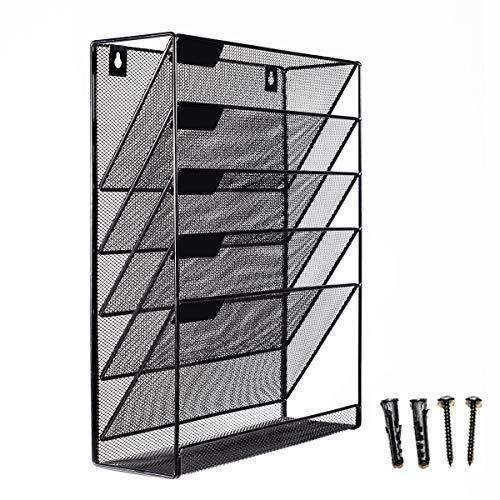 Shop for mesh wall mounted hanging mail document file holder organizer tray 5 tier compartment vertical mount letter rack desk paper sorter black for office kitchen home classroom gym etc