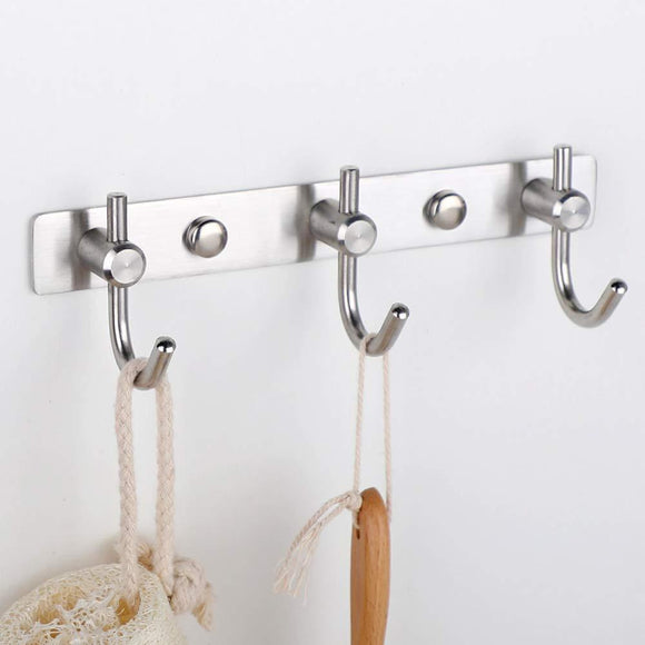 Mellewell Hook Rail Coat Rack with 3 Hooks, Stainless Steel 304 Brushed Nickel, Pack of 2