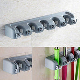 Heavy duty mop broom holder wall mounted garden tool organizer space saving storage rack hanger with 5 position with 6 hooks strong grip holds up to 11 tools for kitchen garden and garage