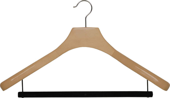 Buy now deluxe wooden suit hanger with velvet bar natural finish chrome swivel hook large 2 inch wide contoured coat jacket hangers set of 24 by the great american hanger company