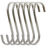 Latest ruiling premium 6 pack size x large brushed stainless flat s hooks kitchen pot pan hanger clothes storage rack