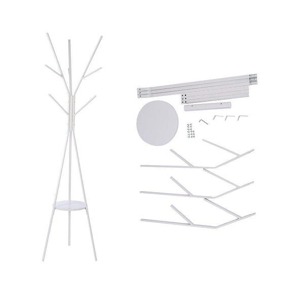 Heavy duty home bi coat rack stand coat hanger with 9 hooks for holding jacket hat purse white