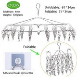 Home dx da xin clip and drip hanger 52 clips clothes drying hanger for delicates jeans sock scarf gloves underwear bras cloth diapers with 20 metal clothespins and 6 self adhesive hooks