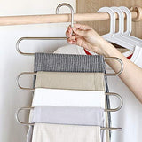 Shop for lucky life 4 pack pants hangers s shape stainless steel cloth hangers space saving organizer for jeans pants scarf