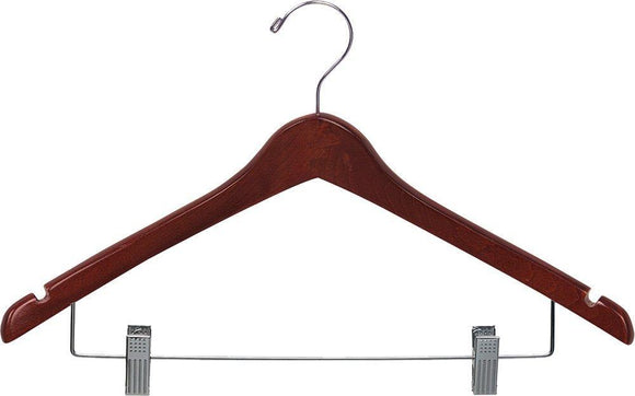 Related the great american hanger company wood curved combo hanger w adjustable cushion clips box of 100 17 inch wooden hangers w walnut finish chrome swivel hook notches for shirt jacket or dress