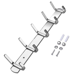 Budget homaid wall mounted hook rail 14 stainless steel hook rack with 5 dual hanger hooks pack of 2