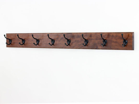 Solid Cherry Wall Mounted Coat Rack with Oil Rubbed Bronze Wall Coat Hooks - 4.5