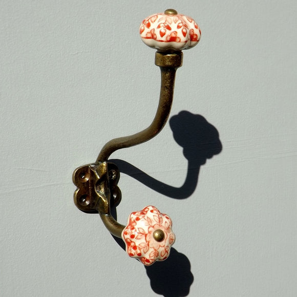 Antique brass effect Double Hook with Red & White shaped ceramic ends